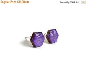 20% OFF SUMMER SALE Hexagon stud earrings, wood stud earrings, hand painted jewelry, painted stud earrings, geometric jewelry, purple earrin