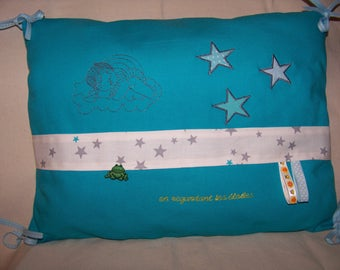 """Pillow embroidered baby child blue """"watching the stars"""" cushion inner child"""