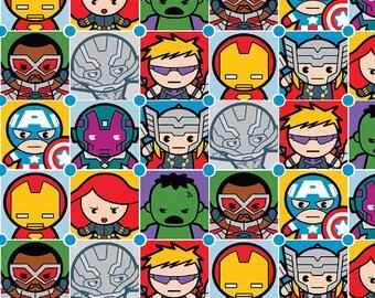Marvel Kawaii Super Hero Fabric, Avengers Fabric, Kawaii Marvel Pack Tile, Hulk, Spiderman, Ironman, Captain America Packed Cotton Fabric