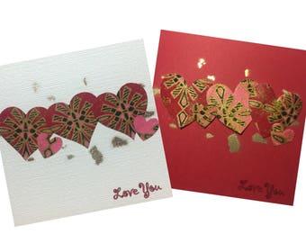 African valentine card, Romantic valentine card, African fabric card, African valentines card, African Romance card, UK free shipping