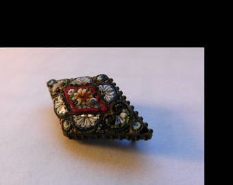 Vintage Made in Italy Micro Mosaic Diamond Shape Pin Brooch