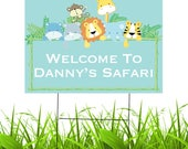 Personalized Safari Yard Sign   Waterproof Outdoor Party Yard Sign   1st Birthday   Baby Shower   Jungle Party   Custom Lawn Sign
