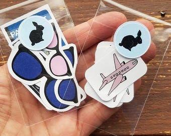 Jet Set Pack - 0084 travel stickers, airplane, sunglasses, maps, passport, journey, traveling, bullet journal, summer travel, bujo