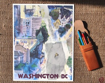 Heurich House - Postcards from Washington DC - Egyptian Cultural Bureau, Dupont Circle print, DC illustration, capital bikeshare, DC present