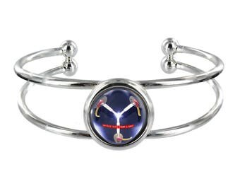 Flux Capacitor Design On Silver Plated Bangle in Organza Gift Bag