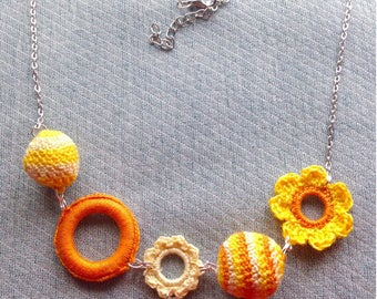 Summer crochet necklace yellow and orange