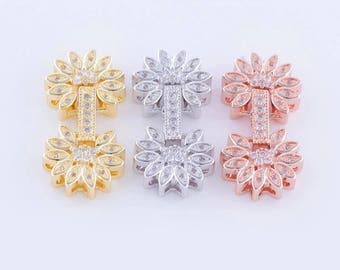 Flower Clasp Micro Pave Rhinestone Finding Jewelry Making Accessory Rose Gold Silver