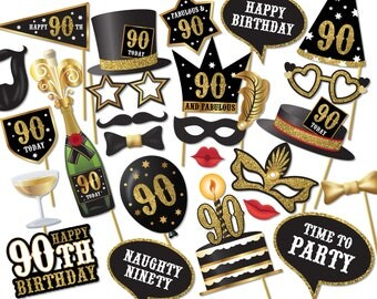 90th birthday Photo Booth props - Instant Download printable PDF. ninetieth birthday party Photo Booth supplies. 90 Ninety Today - 0199