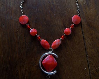 Red/silver handmade necklaces