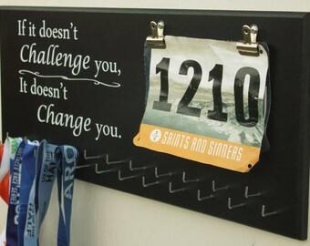 Running Medal Holder, Medal Display, Bib Display, Gift for runners, 23 Hooks, Doesn't Challenge You, Tri, Run, Bike, Swim, Full Medal Holder