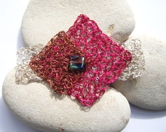 Three colors crocheted wire brooch