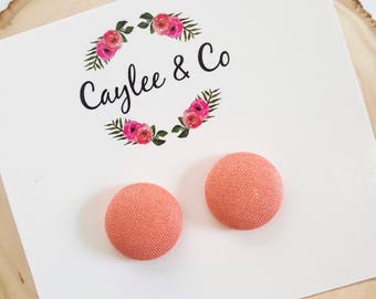 Coral Button Earrings RTS
