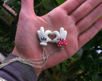 Mickey and Minnie Mouse Couples Necklace, Gloves, Heart, Polymer clay, 100% handmade.