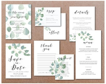 Printable Eucalyptus Wedding Invitation Suite - Digital Download files in A6 base sizes