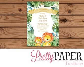 Lion Jungle Baby Shower Invitation - Digital or Printed