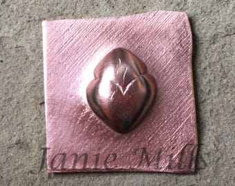 Copper Stamping Flaming Heart