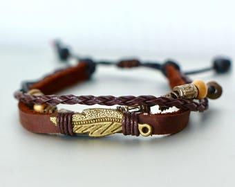 Leaf Charm And Leather Bracelet, Genuine Leather Bracelet, Adjustable Bracelet, Tibetan Jewelry, Bohemian Jewelry, Bracelet,LB66