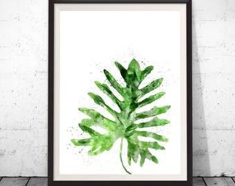 Tropical leaf print, leaf wall art, tropical decor, watercolor leaf art, tropical plant print, monstera leaf, monstera art, botanical art