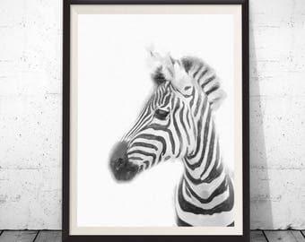 Zebra Print, Safari Nursery Wall Art, African Animal, Watercolor Decor, Printable Poster, Modern Minimalist Digital Download, Kids Room