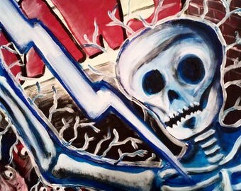 Jaws Skelton Lightning Strike Original Acrylic Painting