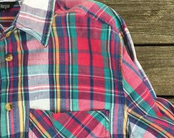 90's madras plaid shirt large