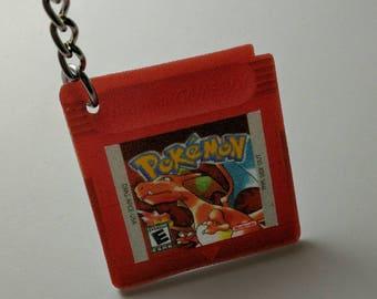 Single Retro Pokemon Game Cartridge Keychain - Pokemon Red, Blue, Yellow or Green