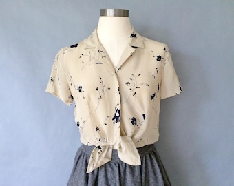 Vintage silk floral button down blouse/shirt/top women's size S/M
