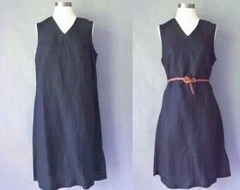 Vintage linen v neck sleeveless minimalist/minimalism dress women's size S/M