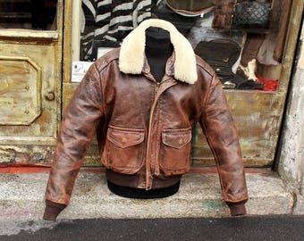 Original Vintage Leather Schott jacket A2 model sz L
