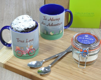 Valentines romantic gift cake, couples treat, mug cake for two, personalised engagement, happy couple, newly engaged, true love, anniversary