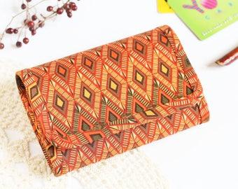 Geometric Women's Wallet Small Purse Wallet Vegan Coin Purse Small Wallets for Women Small Womens Wallet Change Purse Orange Fabric Wallet