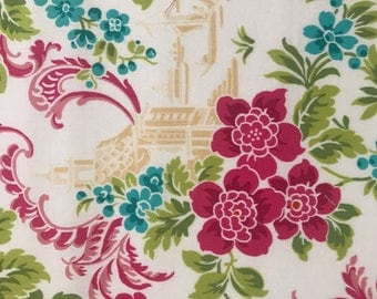 Oriental Fabric, Cotton Fabric, Quilting Fabric, Fabric by the Yard, Floral Fabric