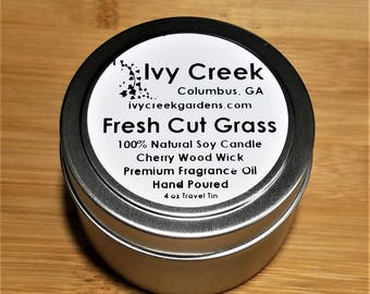 Fresh Cut Grass Wood Wick Candle, Fresh Cut Grass Candle, Wood Wick Candle, Metal Tin Candle, Gifts for Her, Grass,  Summer, Spring