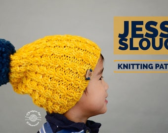 Knit Jesse Slouch Beanie PATTERN | Knitting Pattern | Beanie Pattern | Hat Pattern | Instant Download