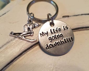 My life is going downhill keychain, downhill skiing, funny gift for skiiers, gifts for skiiers, skiing keychain, ski keychain