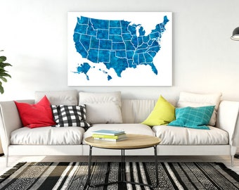 us map usa map United States Map 50 states All states USA map poster Navy blue Map of united states USA map poster Map wall art poster