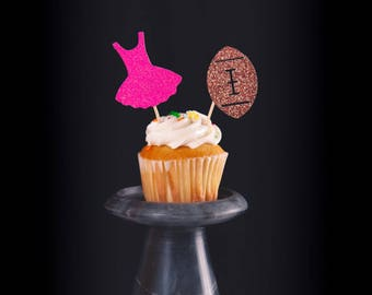 Touchdowns or tutus!, Set of 12, gender reveal cupcake topper, tutus and footballs