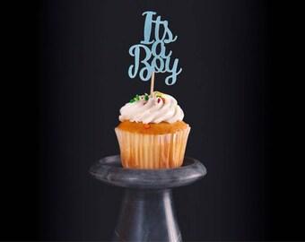 12 its a boy cupcake toppers, Boy, Its a boy cupcake topper, Gender reveal cupcake topper, glitter cupcake topper