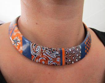 Polymer clay bib necklace