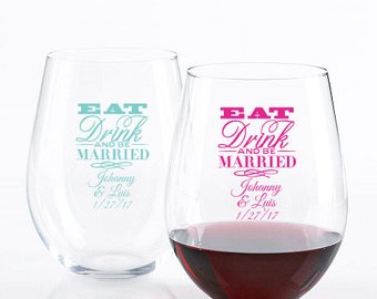 24 pcs - Eat Drink and be Married - Stemless Wine Glass 15 OZ- Personalized -JM93418