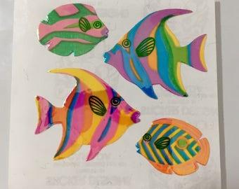 Vintage Sandylion Rainbow Pearl Tropical Fish Stickers