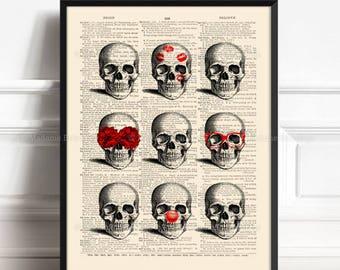 Decorative Skulls, Husband Birthday, Human Skull Decor, Nerdy Skull, Boyfriend Xmas Gift, Friend Gift Print, Geekery Print, Dictionary  161
