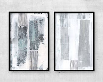Grey & White Abstract Painting, Set of 2 Prints, Contemporary Art, Large Abstract Wall Art, Abstract Wall Art, Abstract Minimalist