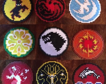 Game of Thrones Family Sigils - Pixel Art Mini Bead Magnets - Available Individually or as a Set of 9