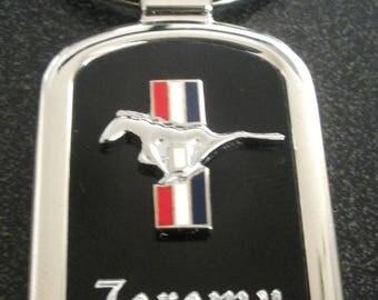 Ford Mustang BlackOnyx & Silver Key chain-Free Engraving