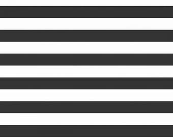 Half Inch Black and White Stripe Knit Basic from Riley Blake - cotton spandex knit 4way stretch jersey lycra K530R-110BLA prison stripes
