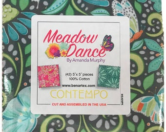 "Meadow Dance by Amanda Murphy for Benartex Charm Pack contains 42 5"" squares = flower feminine MEAD5PK quilting precut fabric"
