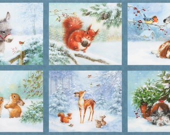 "Dusty Blue Snow Pals Digitally Printed 24"" Panel by Hazel Lincoln for Robert Kaufman quilting cotton AHL1693168 squirrels rabbits"