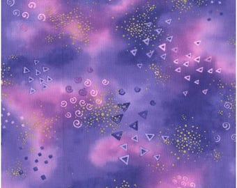 Laurel Burch Basics Purple Glitter with Metallic Accents cotton precut quilting fabric material Y0808-27M swirls triangles by the yard metre