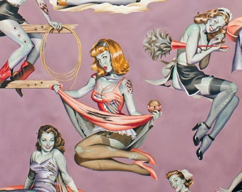 Beauties and Brains in Mauve from Alexander Henry Nicole's Prints 8431A pin up girls quilting cotton zombie pink fabric by the yard